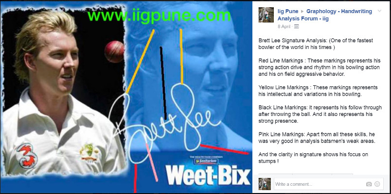 IIG Analysis - Handwriting of Brett Lee
