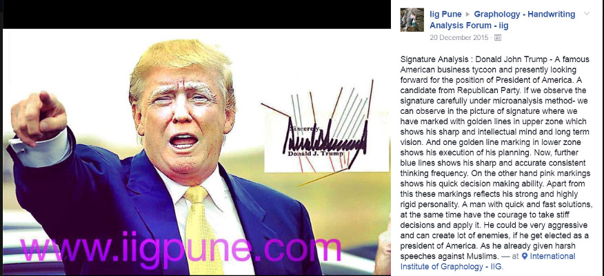 IIG Analysis - Handwriting of Donald Trump