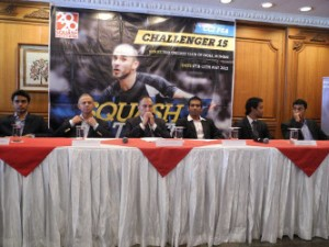 Abhinav at the press conference of CCI International Squash Championship 2013