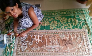 Gita's student fusing Lippan art with warli art
