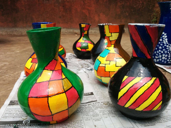 Creative Strokes - Pot Painting Workshop - Students Artwork