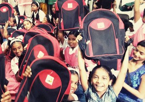 Distribution of school kit at Agarkar Girls' School