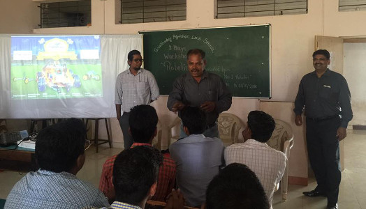Vinay Kunwar with his teaching staff in an Engineering College workshop