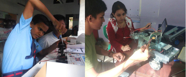 IndiaFIRST™ Robotics Academy - Students engrossed in building their robot