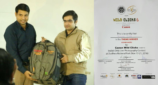 Rahul Deo being felicitated in Canon Wild Clicks 6 for winning in thematic category of Cover Shots