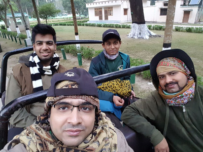 Rahul with fellow participants on safari ride