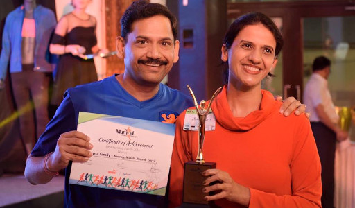 Anurag Gupta, Malati Gupta with MRR Best Running Family Award
