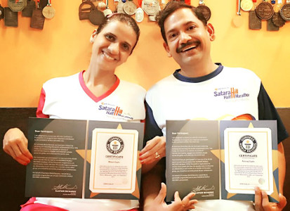Anurag Gupta Malati Gupta Satara Hill Marathon Guinness Record