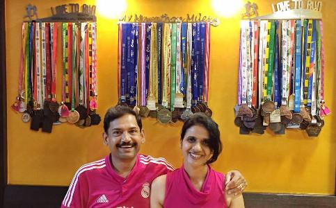 Anurag Gupta Malati Gupta With Medals