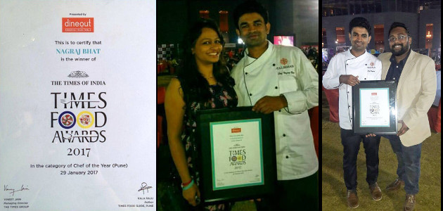 Chef Nagraj Bhat with wife Aparna and Sambhav Prasad founder Syrakko