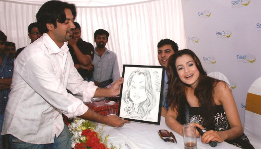 Throwback - Prashant gifts caricature to Ameesha Patel