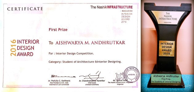 Aishwarya Andhrutkar   Interior Design Award And Certificate