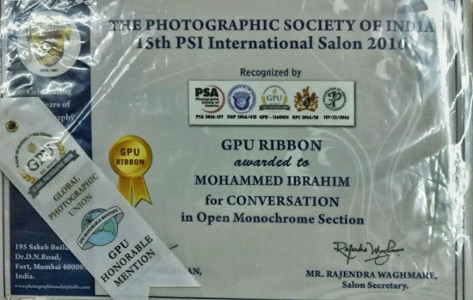Mohammed Ibrahim Photography PSI International Salon GPU Honourable Mention Ribbon