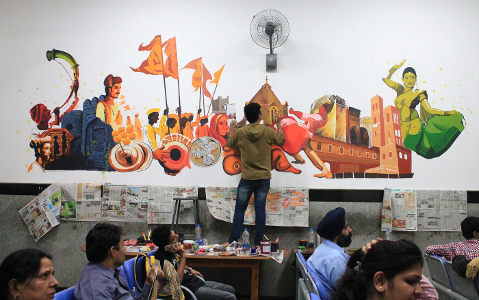 Nilanjan Chakravarty in a group art work at Pune Railway Station