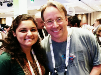Jigyasa Grover with Linus Torvalds, Creator of Linux, at LinuxCon 2016