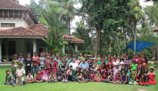 G S Unnikrishnan Nair with young readers of his novels at a Summer Camp in Thiruvananthpuram