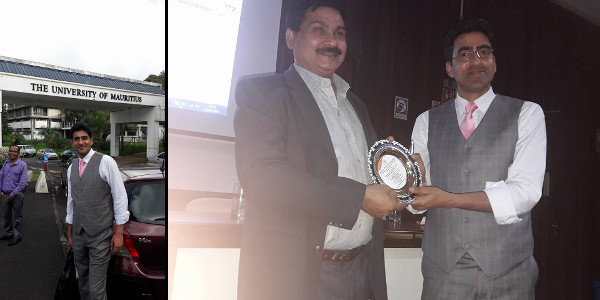 Professor Shamim Banday receiving Best Paper Award in an International Conference in Mauritius