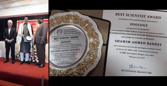 Professor Shamim Banday receiving IMRF Best Scientist Award