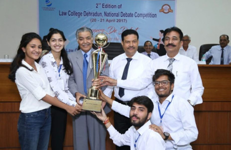 Team Bol - Debating Society of Jamia Millia Islamia after winning the Rolling Trophy at Law College Dehradun