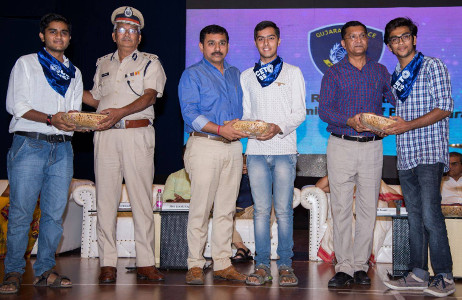 Felicitation of SCET NSS Volunteers by Surat Police Commissioners office for their No Honk - Voice against Noise Campaign