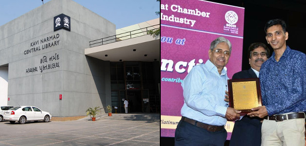 Niket Shastri felicitated by SGCCI for Outstanding contribution in Narmad library activities