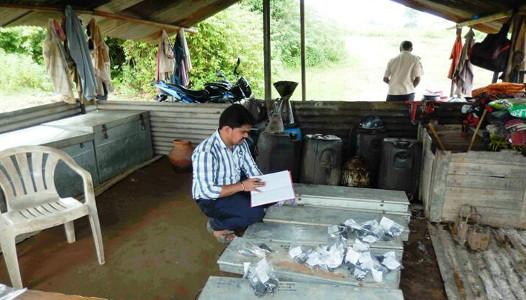 Dr Daramsothu Seetharam recording his samples at Singareni coal mine