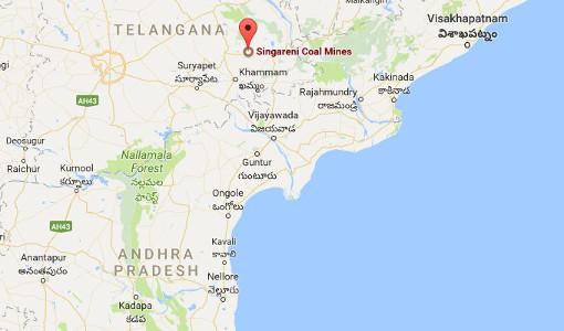 Google Map indicating Singareni Coal mines