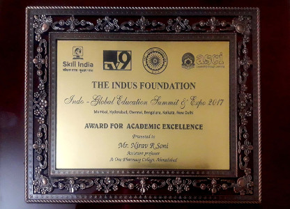 Nirav Soni Indus Foundation Award Momento