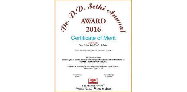 Nirav Soni P D Sethi Award For Research 2016