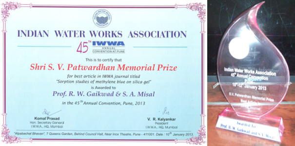 Dr Ravindra Gaikwad Best Article award 2013 by IWWA