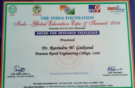 Dr Ravindra Gaikwad award for Research Excellence 2014 by Indus Foundation