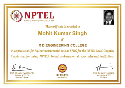 Mohit Kumar Singh - NPTEL Certificate of Appreciation