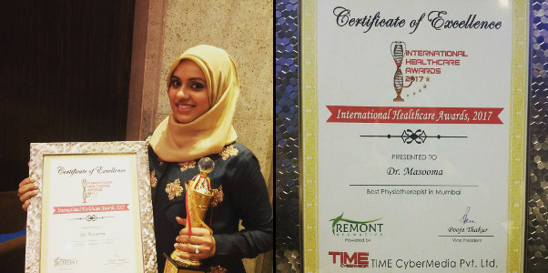Dr. Masooma Ladiwala PT being honoured with TIME Cybermedia International Healthcare Award 2017 2