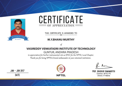 Yaswanth Bhanu Murthy - Certificate of appreciation from NPTEL, IIT Madras for being SPoC of Active Local Chapter