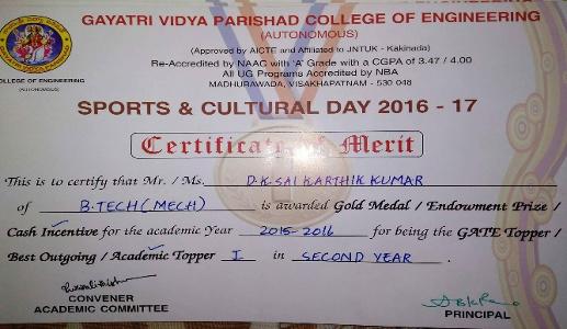 Sai Karthik Kumar Dharanikota - Second Year Award