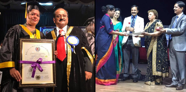 Sujata Singhi - Receiving Honorary Doctorate and Award for Nation Building