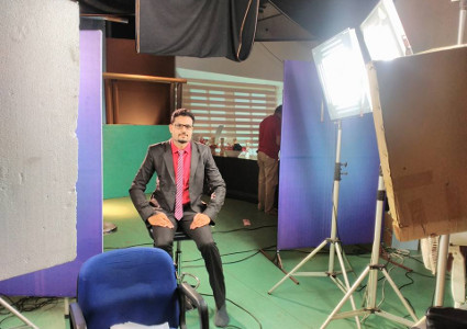 Dr Neetesh Jain during his shoot for an expert lecture to develop e-content for Digital India under the planned project of NMT-ICT, MHRD,Govt.of India