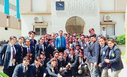 Dr Neetesh Jain with students during Industrial visit to Chiripal Industries