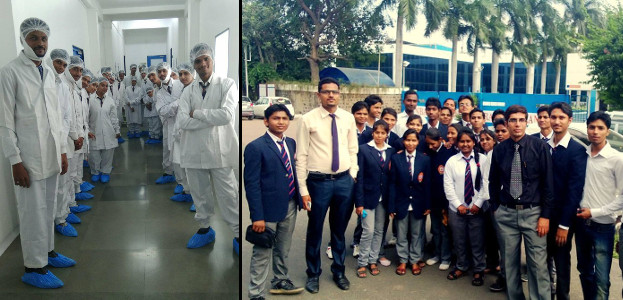 Dr Neetesh Jain with students during Industrial visit to Piramal Industries and Ranbaxy, Dewas