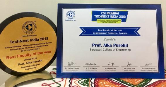 Alka Purohit - CSI Mumbai Best Faculty Award