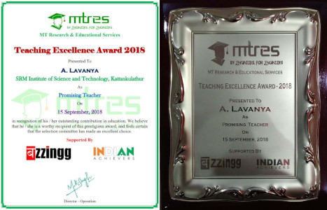 A Lavanya - MTRES Teaching Excellence Award