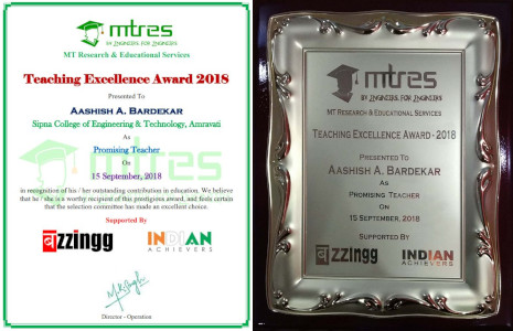 Aashish Bardekar - MTRES Teaching Excellence Award 2018