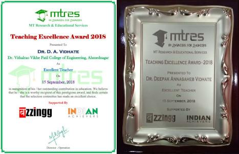 Dr Deepak Vidhate - MTRES Teaching Excellence Award 2018
