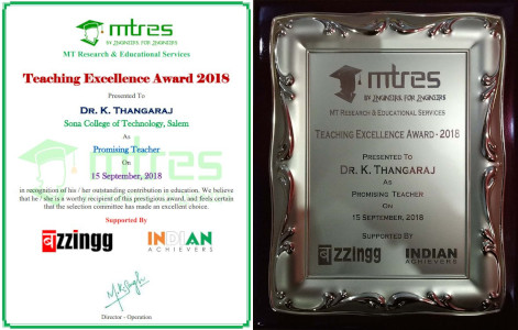 Dr K Thangaraj - MTRES Teaching Excellence Award 2018