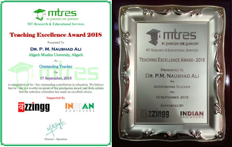 Dr Naushad Ali - MTRES Teaching Excellence Award 2018