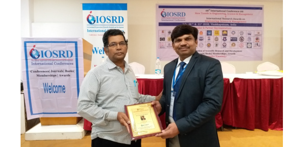 Dr Nilesh Uke - IOSRD Young Scientist Award, 2018