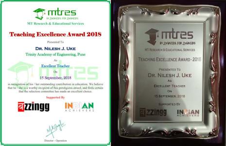 Dr Nilesh Uke - MTRES Teaching Excellence Award 2018