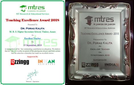 Dr Porag Kalita - MTRES Teaching Excellence Award 2018