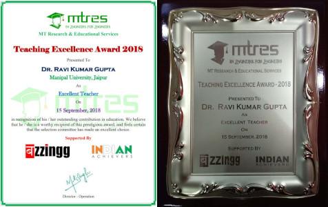 Dr Ravi Kumar Gupta - MTRES Teaching Excellence Award