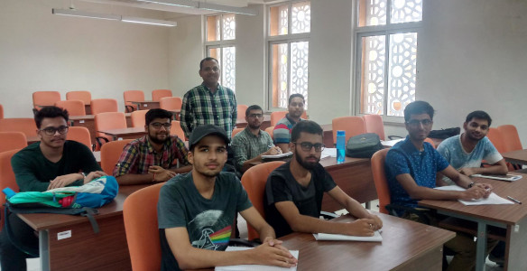 Dr Ravi Kumar Gupta with some of his students during a pre-placement guidance session at MUJ